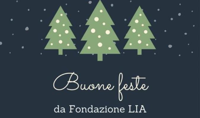 Grafica natalizia con scritta Buone feste da Fondazione LIA