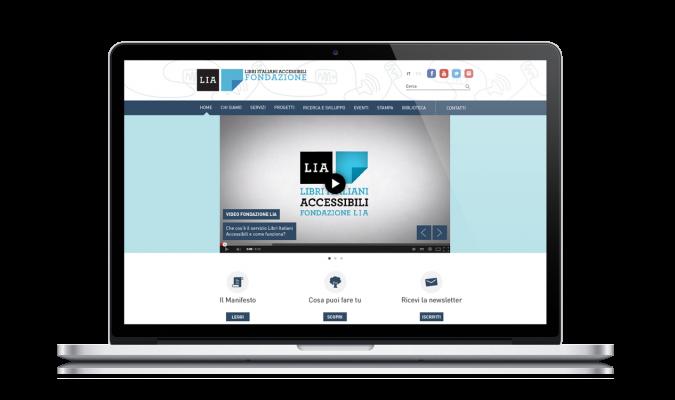 Screenshot dell'homepage del sito di Fondazione LIA