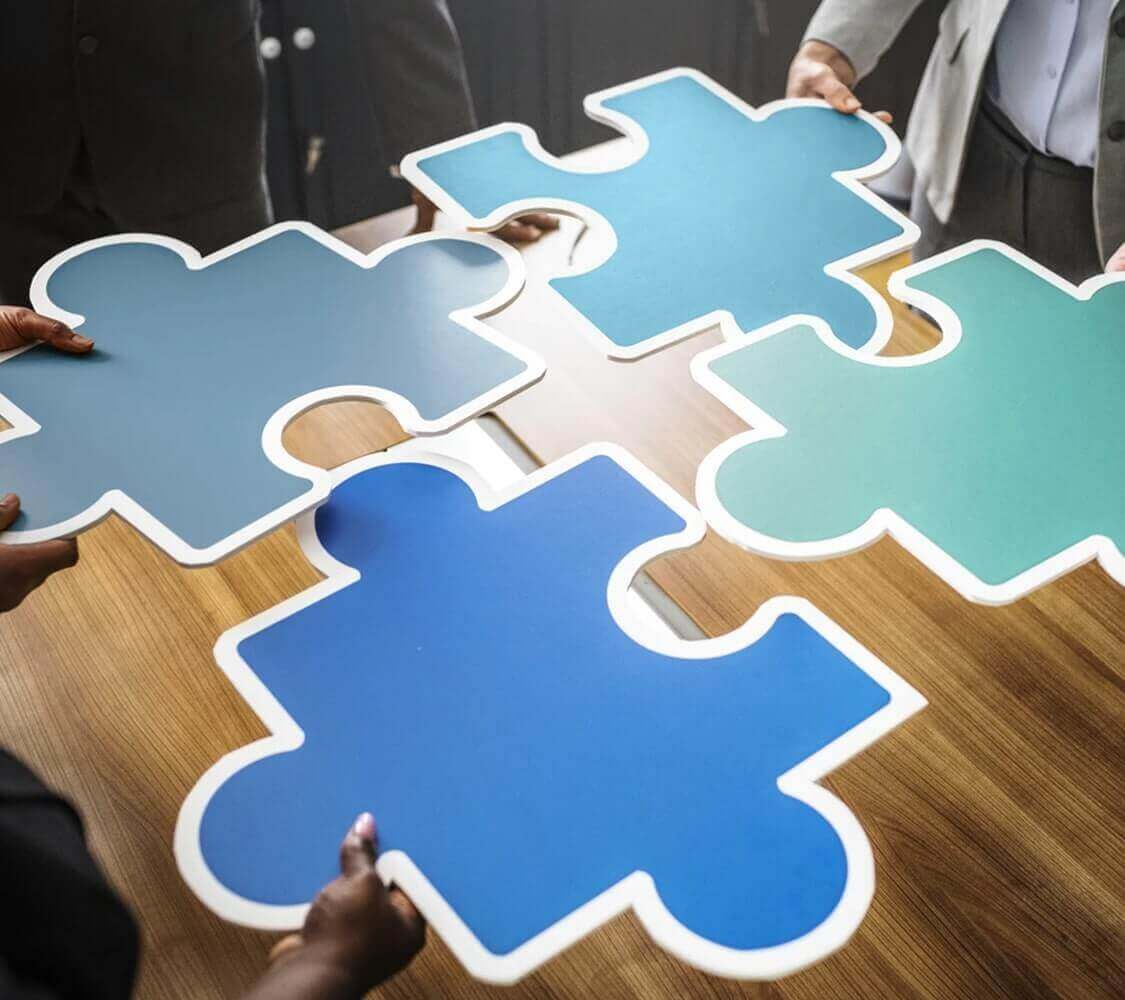 Photo of a jigsaw puzzle pieces