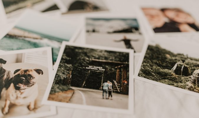 Photograph of some polaroids on a table