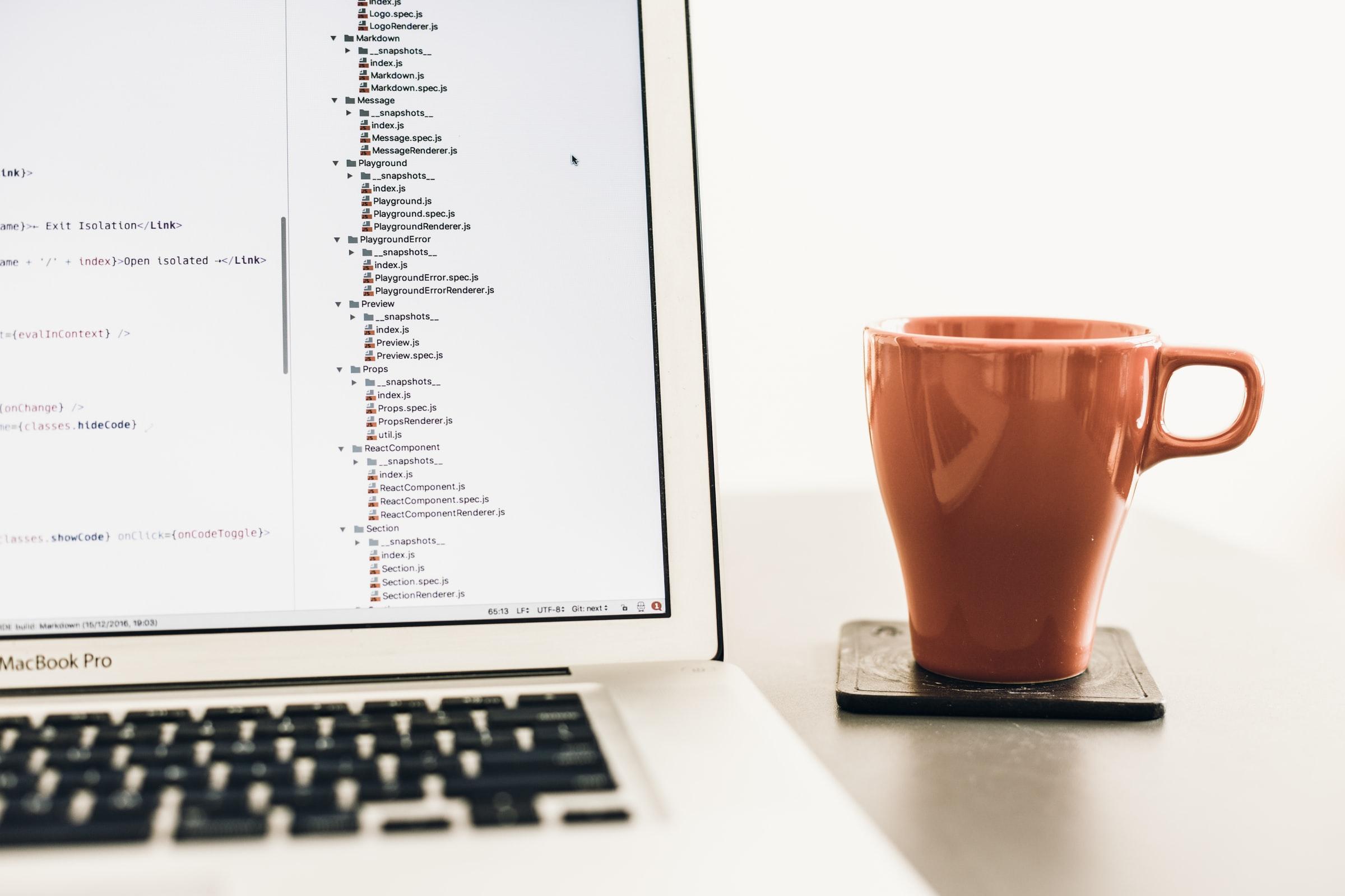 Fotografia dello schermo di un computer. A fianco una tazza