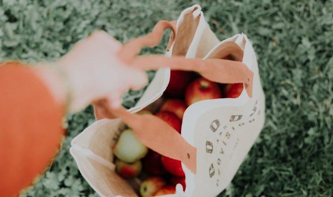 Fotografia di una borsa della spesa piena di mele